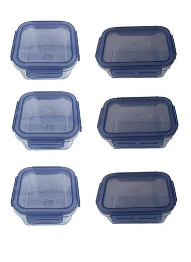 Paşabahçe Kilitli Cam Saklama Kabı Sızdırmaz 6 Lı Mavi Contalı Renkli